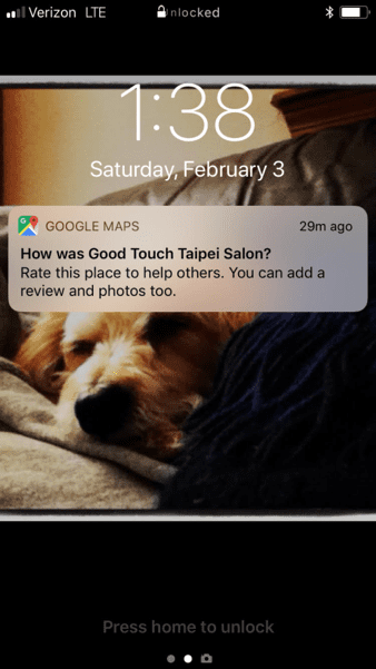 google maps review request